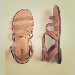 NWOT taupe faux suede strappy gladiator sandal